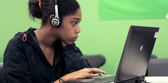 Student in a blended learning classroom